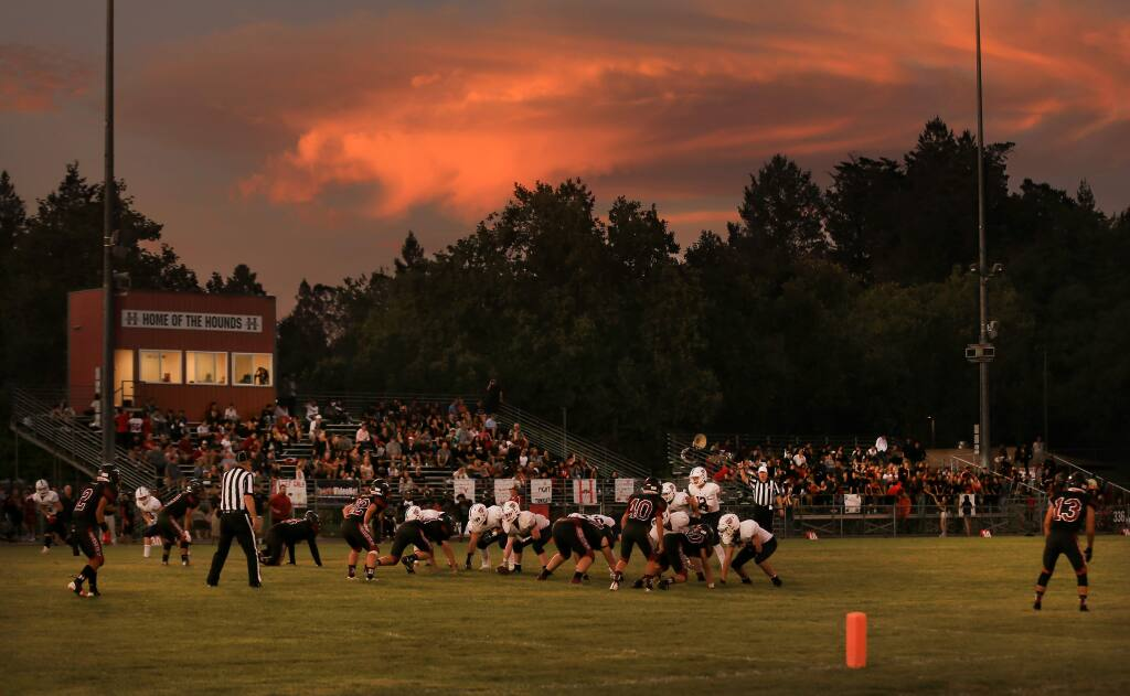 Healdsburg and San Marin kick off the season, Friday, August 30, 2019 in Healdsburg. (Kent Porter / The Press Democrat) 2019