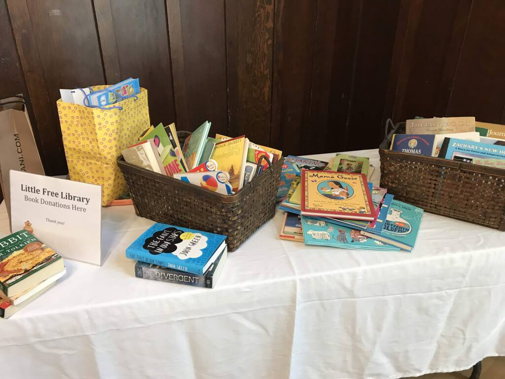 Books collected for Petalumas Free Little Libraries, which will be installed in five Petaluma locations by CHIPA (Community Health Initiative of the Petaluma Area)