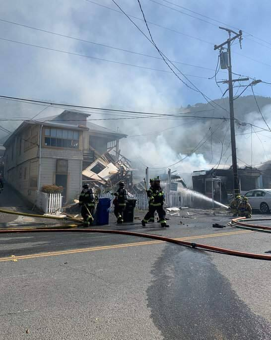 Marin County Fire crews and other first responders at the scene of a structure fire in Stinson Beach on Tuesday, June 16, 2020. (Marin County Sheriff/Twitter)