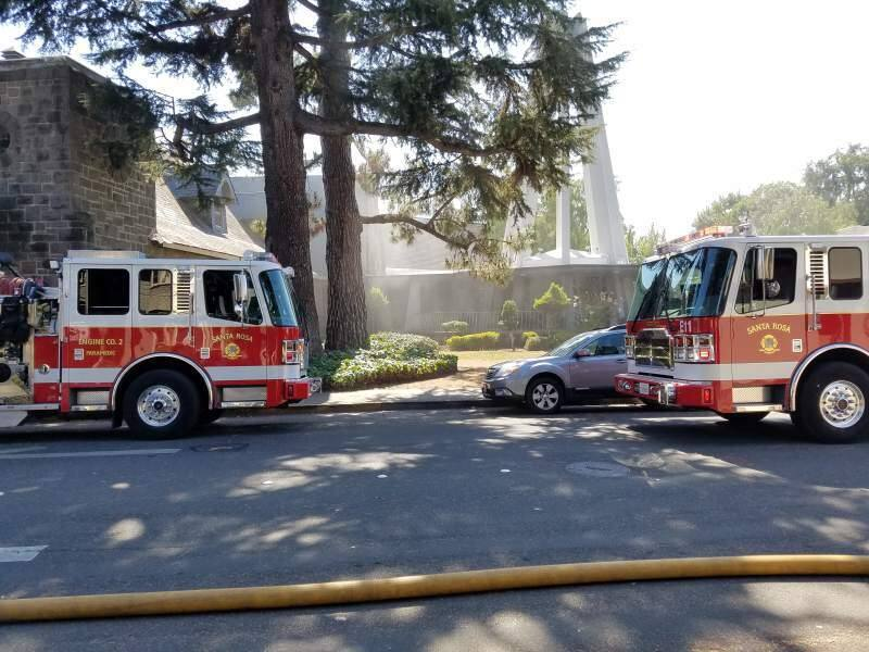 Firefighters respond to fires at St. Rose Catholic Church in Santa Rosa on Thursday, Aug. 11, 2016. (GEORGE BUCE/ PD)