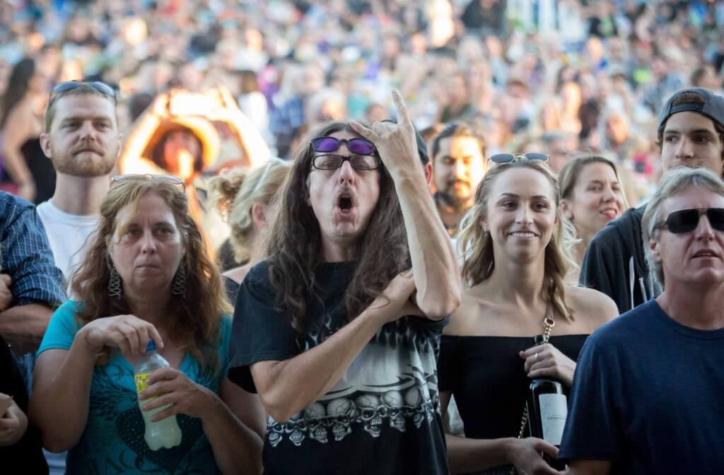 The crowd cheers for The Hollywood Vampires during a concert at the Green Music Center in Rohnert Park, Calif Friday, July 22, 2016.Johnny Depp preformed alongside Alice Cooper, and Joe Perry Friday evening.