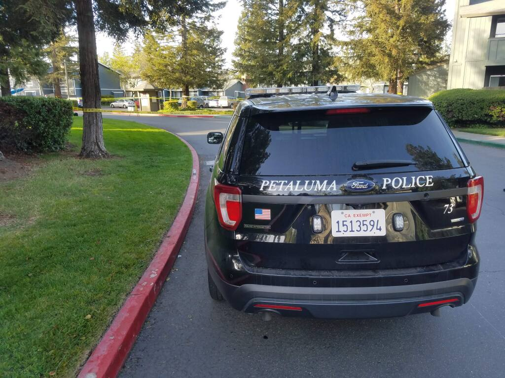 Police respond to a shooting at The Vineyard apartments in Petaluma on Tuesday, April 3, 2018. (KEVIN MCCALLUM/ PD)