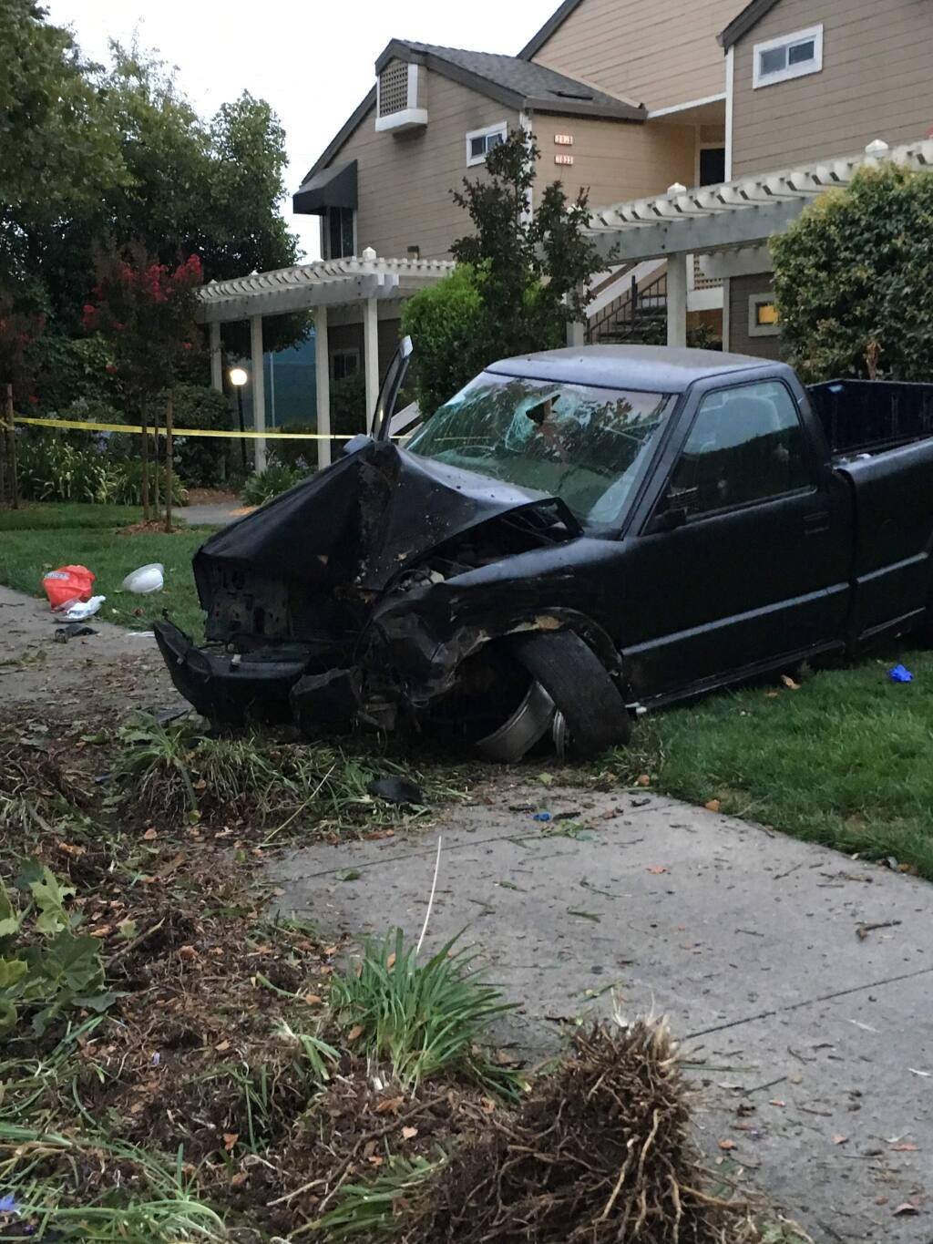 A Santa Rosa man was seriously injured when he crashed his pickup into a tree in the Piner Road area on Sunday, July 30, 2017. (COURTESY PHOTO)