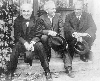 Thomas Edison, Luther Burbank and Henry Ford at Burbank's Santa Rosa home in 1915.