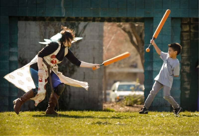 Soft-spongy warfare taking place outdoors at the 2017 LumaCon (Photos by Crissy Pasqual)