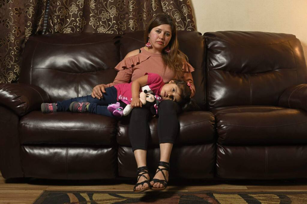 Veronica Duarte, of Novato, and her husband waited for five years for subsidized daycare for their three children. She is pictured with her daughter Grace Escobar, 3. Photo by Jose Carlos Fajardo/Bay Area News Group