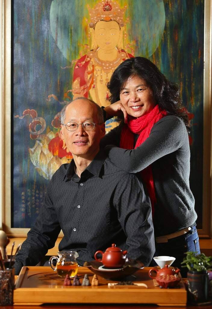 Larry adn Yang Su Chin, owners of Pure Puer Tea, in their private tea room in Santa Rosa. (Christopher Chung/The Press Democrat)