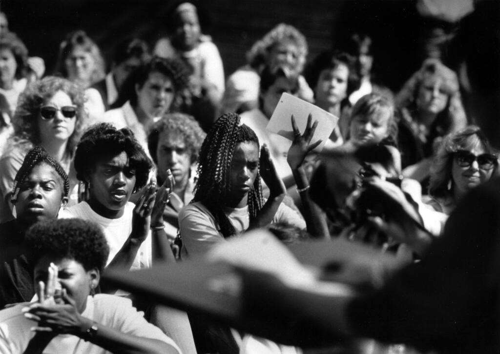 Women at Sonoma State University cheer on Norma McCorvey aka Jane Roe as she speaks to a noon time rally crowd on the rights of women to choose a safe and legal abortion. (Vern Fisher/ The Press Democrat, 1989)
