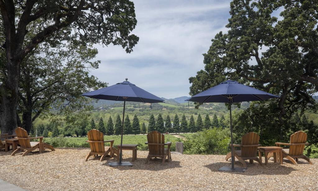 Copain Wines east of Windsor will offer socially distanced wine tasting on their patio and seating overlooking the Russian river valley. (photo by John Burgess/The Press Democrat).