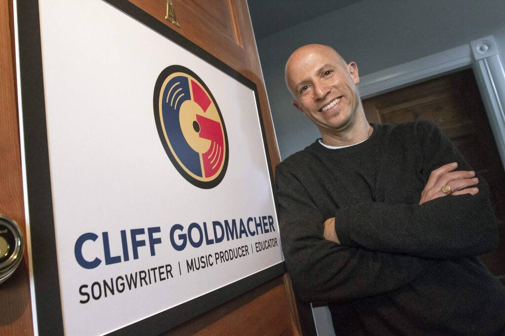 Songwriter Cliff Goldmacher in his studio on East Napa St. (Photo by Robbi Pengelly/Index-Tribune)