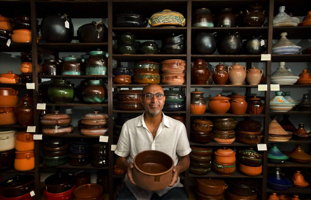 Ashrf Aimasri works with artisans in his native Egypt who create high-end clay pots for his store Bram in Sonoma. (photo by John Burgess/The Press Democrat)