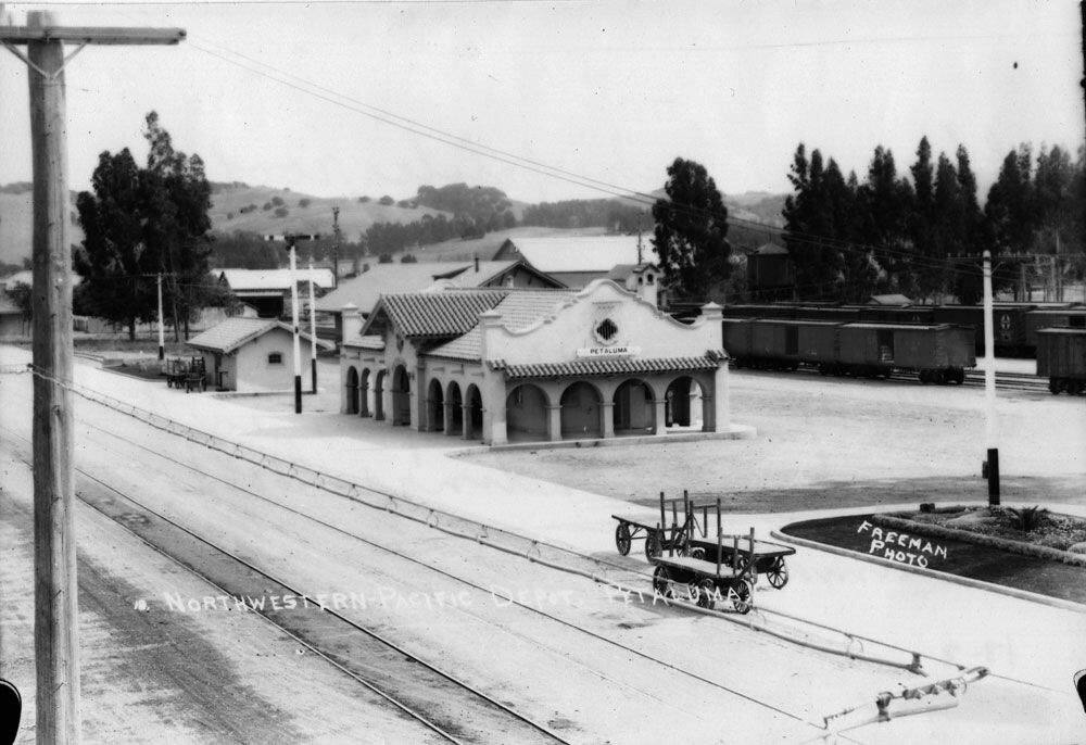 Petaluma's rail depot, seen here in this undated photo, was built in 1914. SONOMA COUNTY LIBRARY
