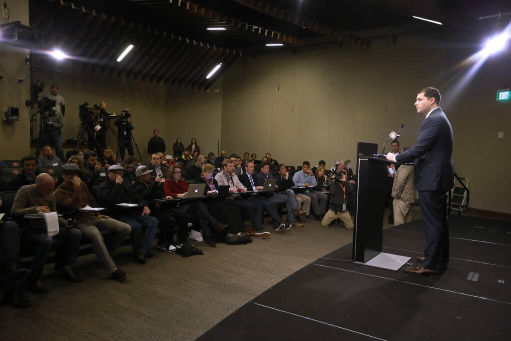 San Francisco 49ers CEO Jed York, right, speaks to reporters during a media conference Monday, Jan. 2, 2017, in Santa Clara, Calif. York answered questions regarding his decision to fire coach Chip Kelly and general manager Trent Baalke. (AP Photo/Tony Avelar)
