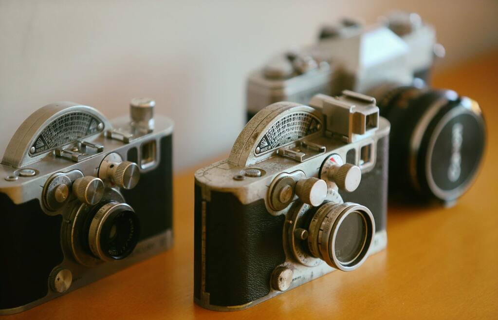 Vintage cameras are reminescent of the 1960's, and are available for guests to purchase. (Christopher Chung/ The Press Democrat)
