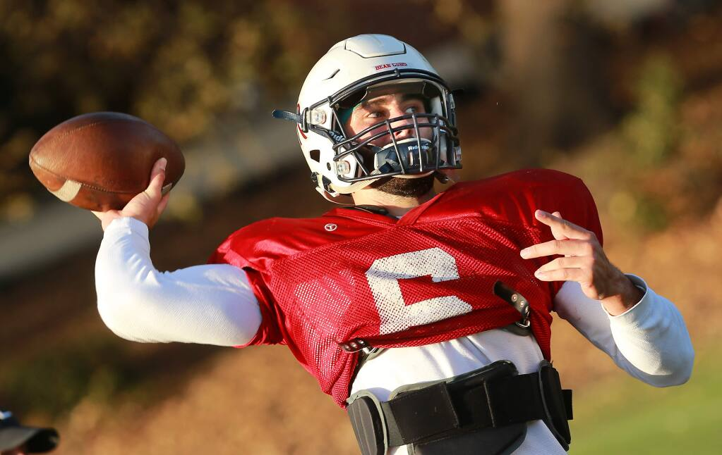 SRJC quarterback Jake Simmons is averaging over 250 yards passing this season. Simmons and he Bear Cubs head to San Francisco Community College for their game this weekend. (John Burgess/The Press Democrat)