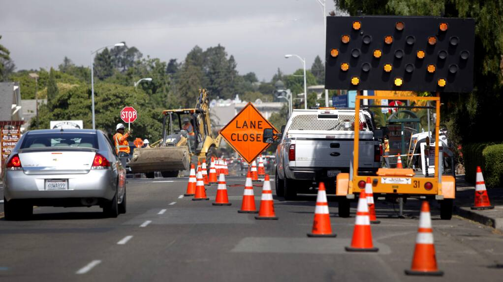 Petaluma, CA, USA. Tuesday, July 07, 2016._ Road work will soon begin on South Petaluma Boulevard to continue the narrowing of lanes.(CRISSY PASCUAL/ARGUS-COURIER STAFF)