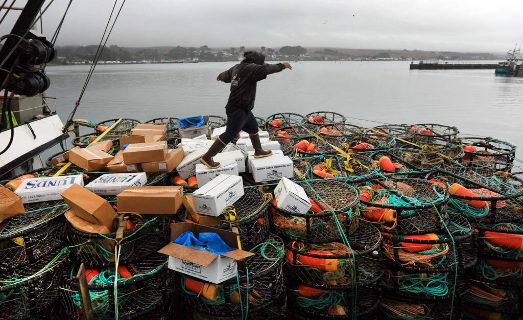 A deck hand with the Verna Jean balances on crab bait as and other crew members head out to sea for the start of crab season, Monday Nov. 13, 2017 in Bodega Bay. (Kent Porter / The Press Democrat) 2017