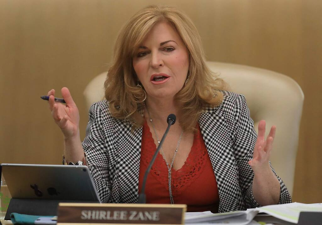 Sonoma County Board of Supervisor Shirlee Zane, Tuesday Feb. 27, 2018 makes a statement after listening to ideas on how to improve the county's warning system in wake of the October 2017 fires. (Kent Porter / Press Democrat) 2018