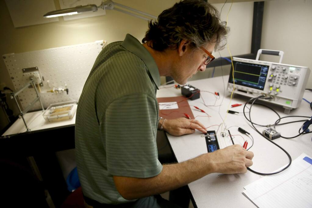 Dr. Patrick Rousche, CEO of Hemotek, sets up a test circuit at their offices in Rohnert Park on Thursday, Sept. 11, 2014. (BETH SCHLANKER / The Press Democrat)