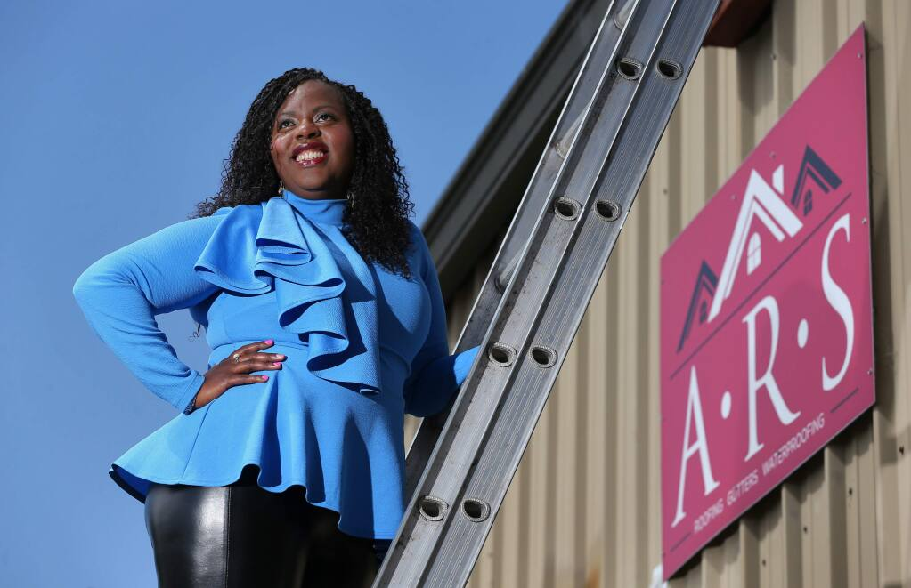 Letitia Hanke, president and CEO of ARS (Alternative Roofing Solutions) Roofing, Gutters and Waterproofing, is the founder of The LIME Foundation to support youth in the arts and construction trades.(Christopher Chung/ The Press Democrat)