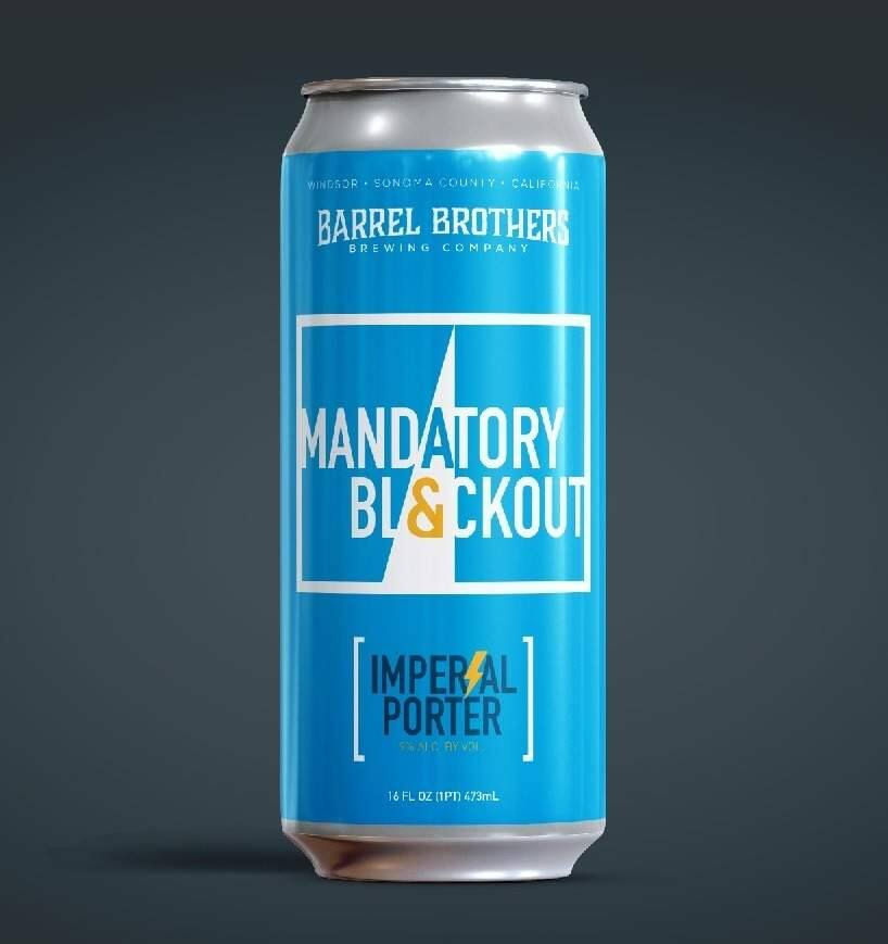 A can of Mandatory Blackout beer by Barrel Brothers Brewing Co. (BARREL BROTHERS BREWING CO.)