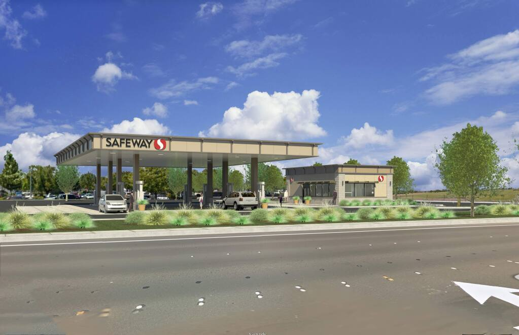 This illustration shows the proposed Safeway gas station on McDowell Boulevard. Plans for the station have since been scrapped, Safeway officials confirmed Friday. (SAFEWAY)