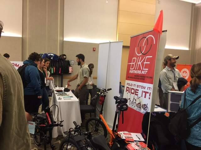 Attendees at the Sustainable Enterprise Conference at Sonoma State University were able to explore businesses that were offering environmentally beneficial business such as compact bicycles. (Bill Swindell / Press Democrat)