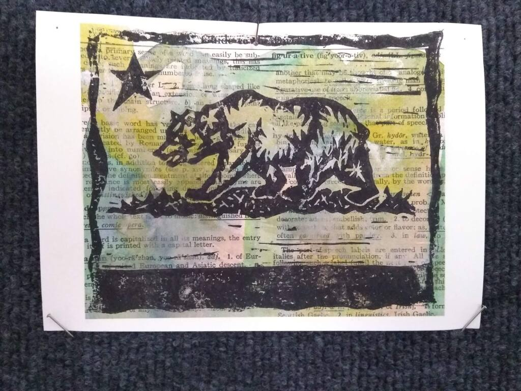 Tracy Norman's 'California Republic Bear' is one of the pieces in the Tiny Galleries art exchange started by two Santa Rosa artists. Through the program, anyone can make small art pieces to exchange through the mail during the shelter-in-place order. Robert van de Walle