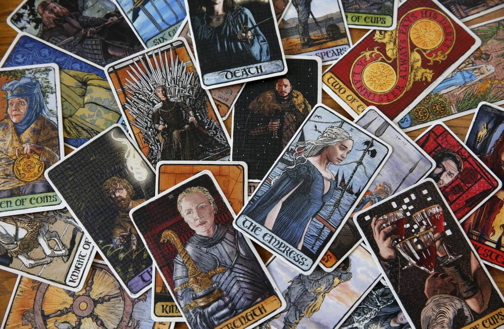 HBOs Game of Thrones tarot cards illustrated by artist Craig Coss. Photo taken in Petaluma, on Tuesday, April 3, 2018. (BETH SCHLANKER/ The Press Democrat)