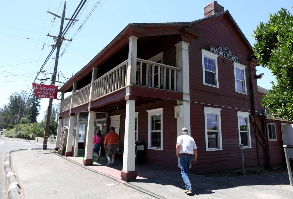 The historic Washoe House on Stony Point Road in Petaluma, Wednesday, July 22, 2015. (CRISTA JEREMIASON / The Press Democrat)