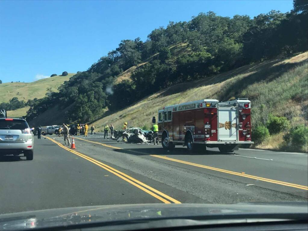 Two people were injured in a collision that shut down Hwy. 101 near Cloverdale on Saturday, May 13, 2017. (Submitted by Randy Yap)