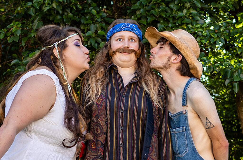 Hande Gokbas as Phoebe, Grace Reid as Rosalind and Zack Acevedo as Silvius in the Raven Players production of Shakespeare's 'As You Like It' from July 25 to Aug 10 at Healdsburg's West Plaza Park. (Ray Mabry Photography)