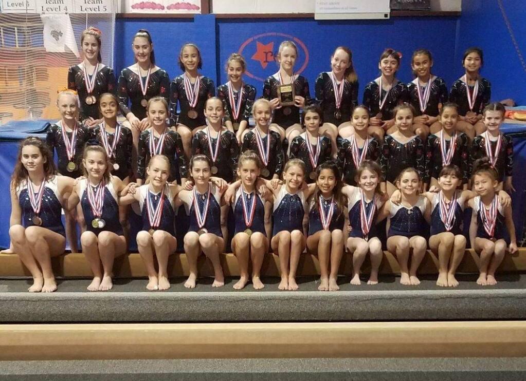 JOHN JACKSON/ARGUS-COURIER STAFFMedmbers of the Redwood Empire Gymnastics team concluded their competitive season with outstanding performances in State Championship meets.