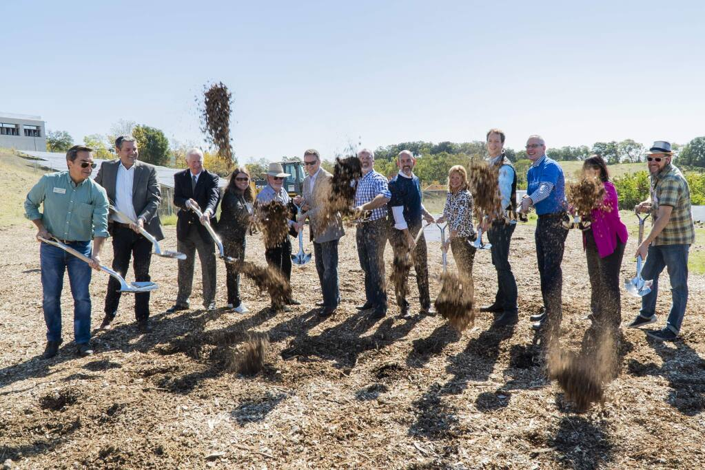 The groundbreaking ceremony for the Sonoma Wildfire Cottages project on Medtronic's campus in Santa Rosa on Oct. 12, 2018, kicks off a project that will provide temporary housing to survivors of the October 2017 fires that destroyed thousands of homes in the region. (COURTESY OF MEDTRONIC)
