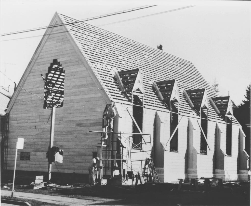 Builders reconstructing the Church of One Tree at Juilliard Park in Santa Rosa in 1957. The church was taken apart at its original Ross and B Street location and moved to Julliard Park. (John LeBaron/The Press Democrat)