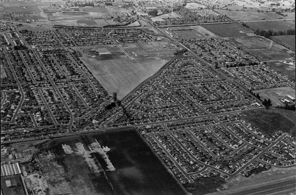 By 1973, the east side of Petaluma was undergoing massive development, as seen in this aerial photo. SONOMA COUNTY LIBRARY