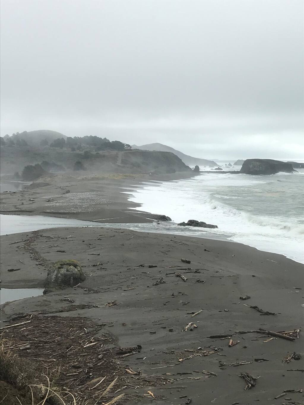 The mouth of the Russian River at the Sonoma Coast on Jan. 8, 2021, as water levels recede. (Sonoma County Sheriff's Office / Twitter)