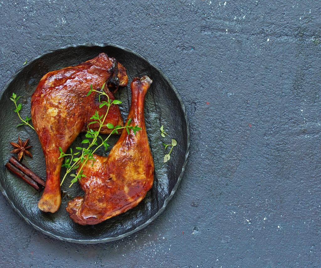Duck is a fabulous match for our wine of the week, a Goldeneye pinot noir. (Lesya Dolyuk/ Shutterstock)