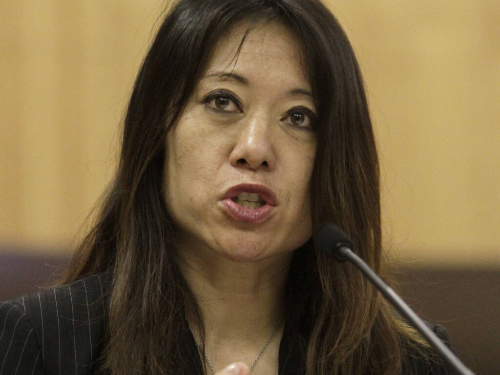 Then-Assemblywoman Fiona Ma, D-San Francisco, urged lawmakers to approve her measure to increase pay of the pilots who navigate massive cargo ships through San Franciso Bay during a hearing at the Capitol in  Sacramento,  Calif., Tuesday, June 14, 2011.(AP Photo/Rich Pedroncelli)
