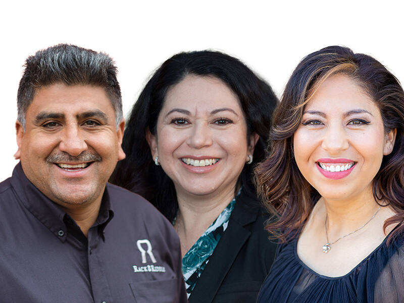 """Agustin Ponce of Rack & Riddle Custom Wine Services, Gabriela """"Gaby"""" Bernal-Leroi of Santa Rosa Community Health and Elizabeth Gutierrez of AUL Corp. are among the winners of North Bay Business Journal's 2020 Latino Business Leadership Awards. Click through this gallery to see more winners. (composite image of courtesy photos)"""