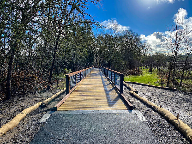 A .2-mile extension connecting the West County Trail to downtown Forestville is now open to the public. (Sonoma County Regional Parks)