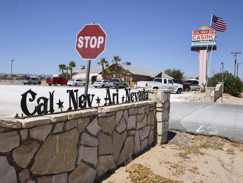 Cal-Nev-Ari casino-restaurant is shown in Cal-Nev-Ari, a town, off a lonely stretch of Highway 95, on Thursday, Aug. 26, 2021, in Nevada. (Bizuayehu Tesfaye/Las Vegas Review-Journal) @bizutesfaye