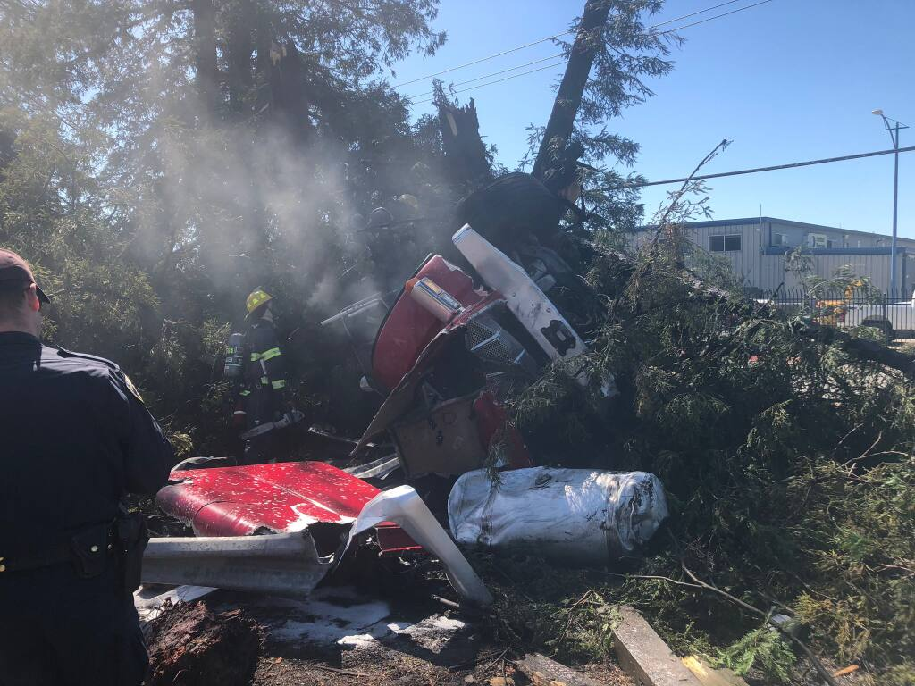 A big rig crashed into a tree off southbound Highway 101 Friday, March 26, 2021, causing major delays as crews cleared the wreck. (CHP Santa Rosa/Twitter)