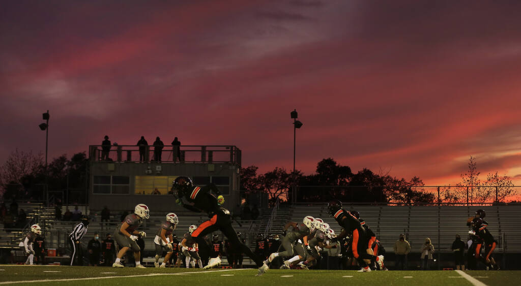 The Santa Rosa High School Panthers and the Montgomery High School Vikings face off during their first game in more than a year at Santa Rosa High School, Tuesday, April 6, 2021. (Kent Porter / The Press Democrat)