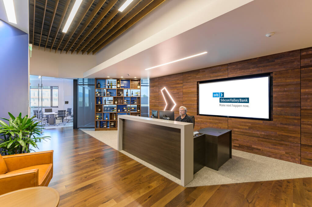 Silicon Valley Bank opened its Premium Wine Division head office in Napa in 2019 with an open floorplan. That means favoring collaboration areas and conference rooms over private offices. That design is expected to fit well with a trial started in early April 2021 of a hybrid work model that's partly remote and partly in-person, expected to remain to some degree beyond the cororavirus pandemic. (Fennie + Mehl photo, early 2021)