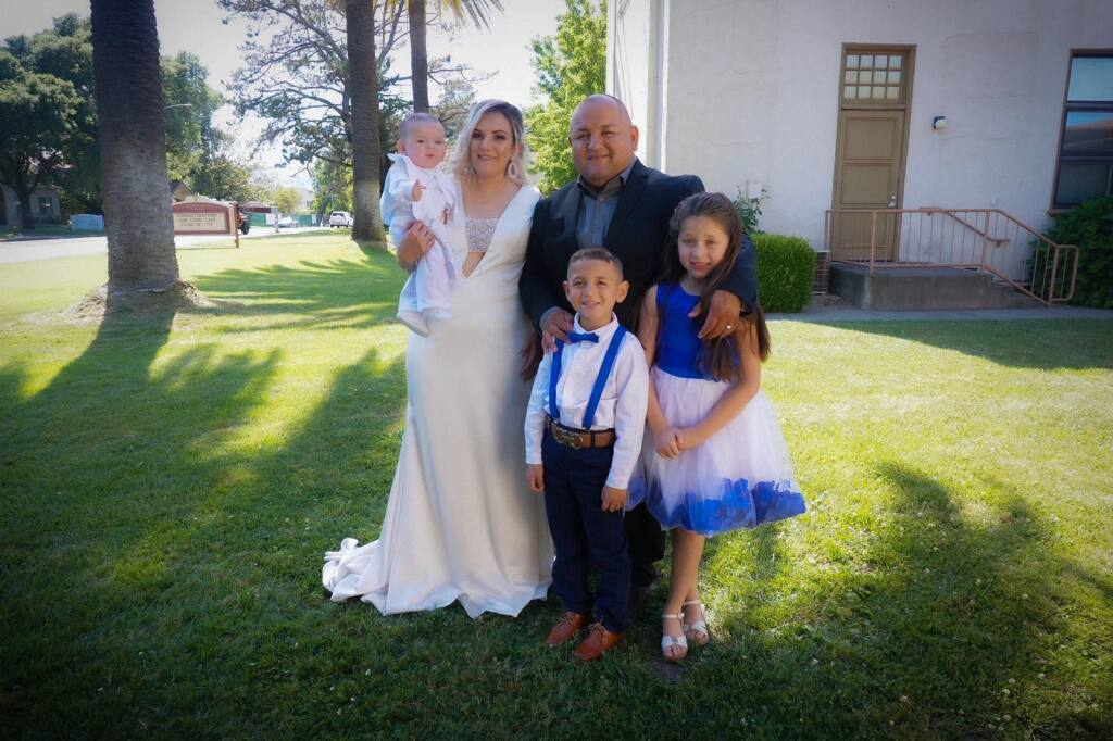 Sonoma resident Jorge Colin, center, standing next to his wife, Idalia Perez, and surrounded by his kids, Ixzel, Luis and Jorgie. Jorge Colin lost all four and his mother, Martha Colin, after the group was killed in a head-on collision near Fresno.