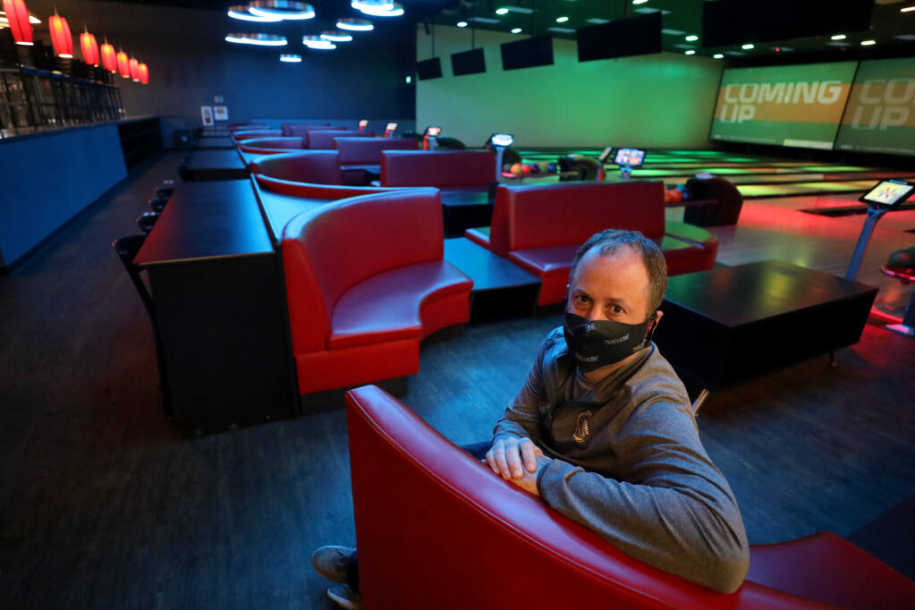 Brad Bergum, CFO of Epicenter, inside the 7 Ten Social bowling alley at Epicenter Sports and Entertainment in Santa Rosa on Tuesday, Nov. 10, 2020. (Beth Schlanker / The Press Democrat)