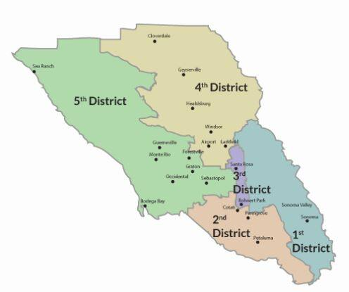 Sonoma County's supervisorial districts are set to be redrawn as part of a once-a-decade exercise. (County of Sonoma)