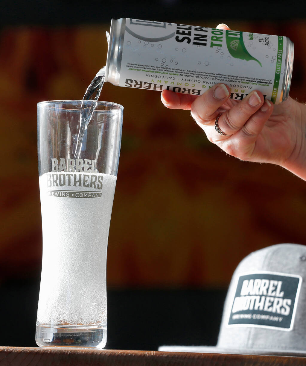 Seltzer in Place Tropical Lime hard seltzer by Barrel Brothers Brewing Co. in Windsor on Thursday, Aug. 13, 2020. (Alvin A.H. Jornada / The Press Democrat)