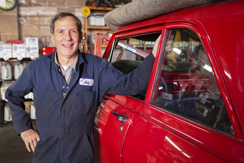Art Azevedo, a former race car driver,  owns A&A Automotive in Petaluma which specializes in the restoration of custom cars and hot rods.  (CRISSY PASCUAL/ARGUS-COURIER STAFF)